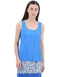 Nautica Women Blue Plain / Solid Top Women Casual Top