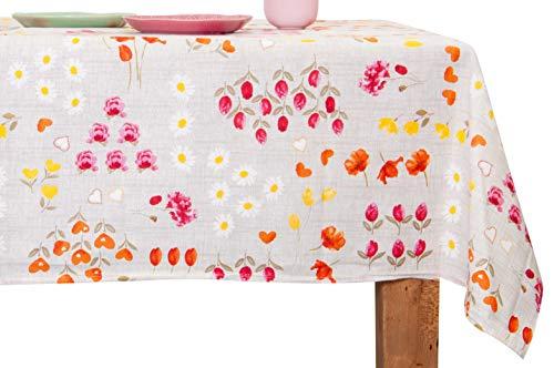 GoldenHome Tischdecke MOD. Milly 100% Baumwolle. Made in Italy. Motiv: Blumen (Orange, 140 x 240 cm) (Orange-blumen-tischdecke)