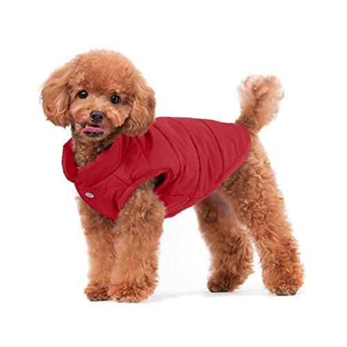 ubest Hundemantel Warm Winterjacke Verdicken Zotte Baumwolle Gepolstert Puffer Weste, Rot, 30 * 44 * 30 cm, Gr