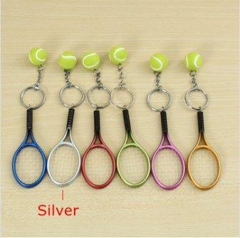Gozar multi-colore sport tennis palla racchetta portachiavi collezione chiave-silver