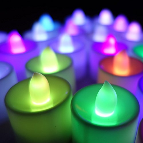 Perfect LED Flameless Multi Colour Tea Light Candles with Extra Batteries (6)