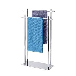 Wenko Handtuchständer mit 2 Stangen, Kyoto Handtuchhalter für Bad oder Küche, freistehend, Handtuchstange 2 armig, 51 x 84 x 19,5 cm edelstahl silber
