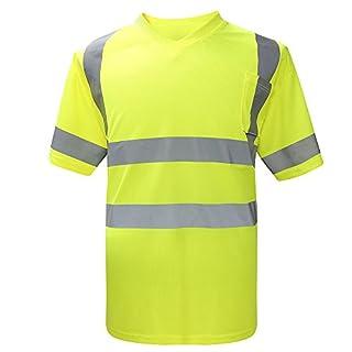 AYKRM Hi Vis Short Sleeve Safety Work V Neck T Shirt (XL, Yellow)