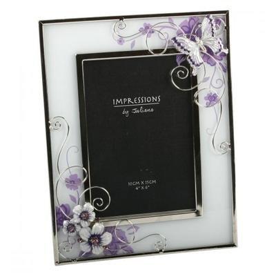 Juliana Bilderrahmen aus Glas, 10 x 15 cm, Schmetterling und Blumen, Violett (Blumen-bilderrahmen)
