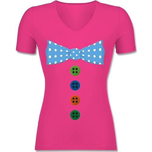 Shirtracer Karneval & Fasching - Clown Kostüm Blaue Fliege - Tailliertes T-Shirt mit V-Ausschnitt für Frauen Fuchsia