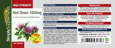 High Strength Red Clover 1000mg | A Rich Source of Isoflavones | Bundle Deal 120+120 Tablets (240 in total) | 100% money back guarantee | Manufactured in the UK