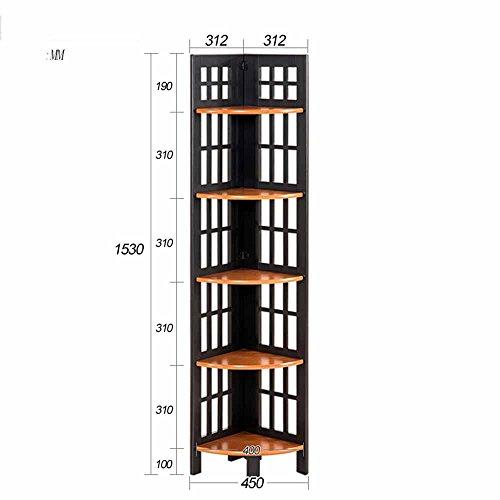Mensole duo scaffale angolare multiuso 5 ripiani espositore angolare a parete scaffale libreria scaffale scaffale scaffale scaffali (colore : black+walnut)