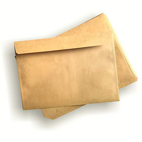 Hojas de efecto envejecido–para Diploma, pergamino, tarjeta de tesoro.–formato A4–gramaje 90G–efecto envejecido recto/verso 25 enveloppes jaunies