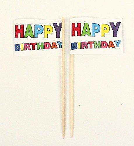 Party-Picker Flagge Happy Birthday Bunt Geburtstag Papierfähnchen in Profiqualität 50 Stück Beutel Offsetdruck Riesenauswahl aus eigener Herstellung