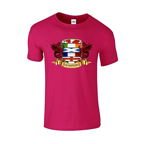 Blue Rock Mens Womens Unisex Loose Fit Printed T-Shirt Six Nations Crest Print MT3