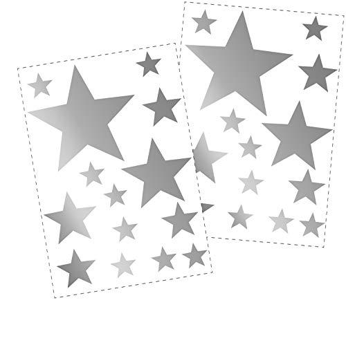 25 Sterne Wandtattoo fürs Kinderzimmer - Wandsticker Set - Pastell Farben, Baby Sternenhimmel zum Kleben Wandaufkleber Sticker Wanddeko - Wandfolie, Kleinkinder, Erstausstattung auf Rauhfaser Silber - Kleinkind-mädchen-wand-spiegel