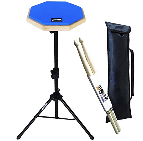 keepdrum DP-BL SET Practice Pad Blau m. Übungspadständer u. Tasche + Drum Sticks 1 Paar