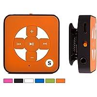BERTRONIC ® Lettore MP3 Everest Royal - colore arancione - Mini Music MP3 Player con funzione cintura-fermaglio, slot micro SD per schede fino a 32 GB, senza memoria interna - Durata della batteria ricaricabile fino a 15 ore - robusta cassa metallica