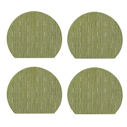 GladiolusA Untersetzer Halbkreis Pvc Tischset Umweltschutz Wärme Essen Mat Hotel Liefert Platte Matte Grün 2 Halbkreis 35 * 31cm,4er Set -