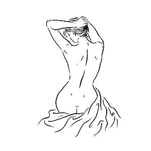 Akt weiblich, ORIGINAL! Rücken Frauen Figur, weiblicher Torso Bild, A4 Tusche erotische Kunst, Figur Zeichnung, Frau von hinten abstrakte minimalistische Linien Zeichnug