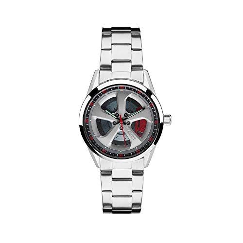 Volkswagen 5KA050800 Armbanduhr GTI Automatik-Uhrwerk Original VW Uhr Design Felge Bremsanlage Glasboden Wasserdicht, Silber