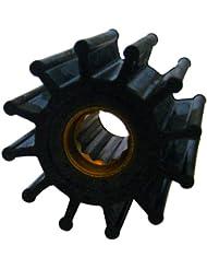 """Jabsco 1210-0001-P Replacement Impeller (Neoprene, K Silhouette, 1.25"""" Deep, #7 Spline Drive, 5/8"""" Shaft, 12 Blade, 2.25"""" Diameter, Brass Insert)"""