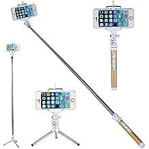 Selfie Stick WISETIGER Bluetooth Selfie Stick con Obturador Inalámbrico con Mando a Distancia y trípode telescópico para iPhone 66Plus 6S Galaxy, HTC, iOS, Android, GoPro (Oro)
