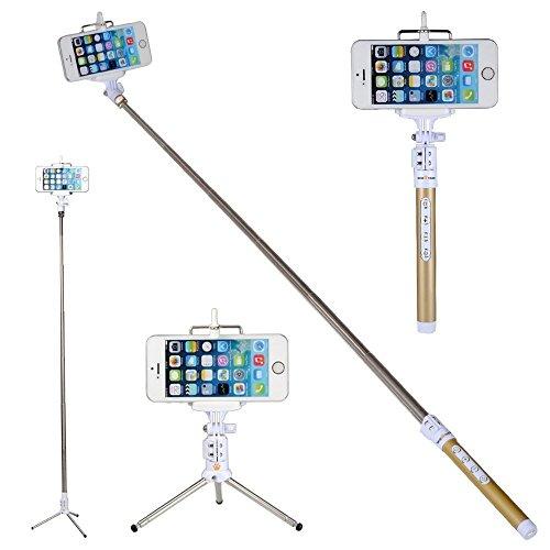 wisetiger Bluetooth-Selfie-Stick mit kabelloser Fernbedienung Shutter und Teleskop Stativ für iPhone 66PLUS 6S Galaxy HTC IOS Android GoPro (Gold)