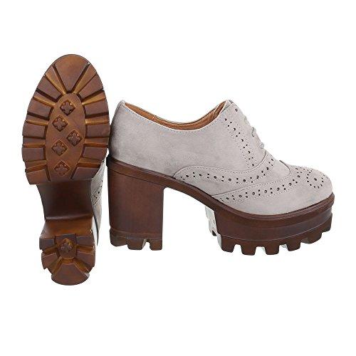 De Design Senhoras Bloco Laços Schnürer Ital Baixos Oxford Cinza Sapatos Sapatos Salto nWRwpWSUq