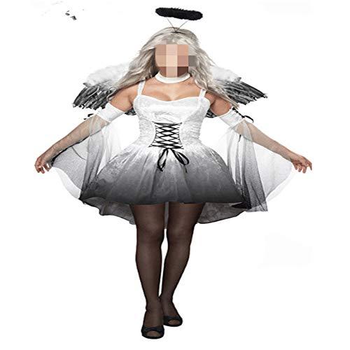 QWWR Halloween Erwachsene Schwarzweiss-Engels-Vampir-Teufel-Partei-Kostüm-Maskerade-weibliche große Größen-Leistungs-Kleidung Weiß S