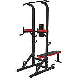 ISE Chaise Romaine Station Traction dips Multifonctions Barre de Traction dips Banc de Musculation SY-4006