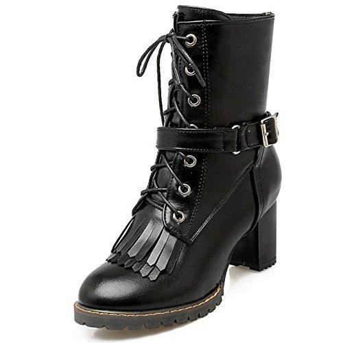 TAOFFEN Damen süß und retro Blockabsatz Schuhe Schnürung Knöchel Stiefel Reißverschluss Martin Stiefel mit Schnalle Schwarz