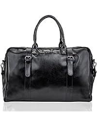 Solier hommes en cuir sac de voyage sac à bandoulière week-end sac de sport haut de gamme S16 (Noir)
