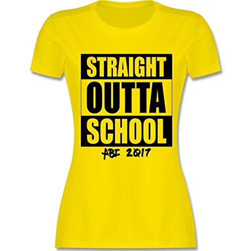 Abi & Abschluss - Abi 2017 Straight Outta School - tailliertes Premium T-Shirt mit Rundhalsausschnitt für Damen Lemon Gelb