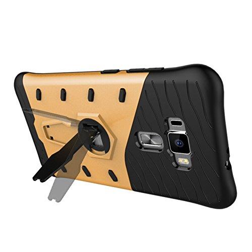 Für Asus Zenfone 3 Ze552KL 5.5 Zoll Fall Neue Rüstung Tough Style Hybrid Dual Layer Rüstung Defender Soft TPU / PC Rückseitige Abdeckung Hülle Mit 360 ° Stand [Shockproof Case] ( Color : Silver ) Gold