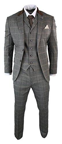CB Herrenanzug Beige 3 Teilig Kariert Tweed Design Wolle Vintage Retro Stil Tailored Fit - Tweed Vintage-anzug