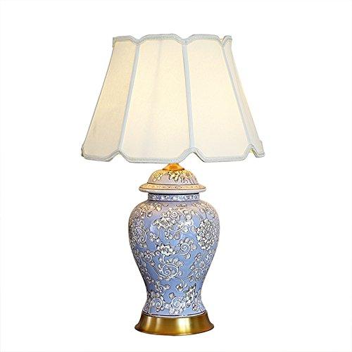 Lace Shades (Tischlampe Perfekte Keramik Tischlampe, Wohnzimmer Schlafzimmer Schreibtisch Tischlampe Chinesische Klassische Tischlampe Knopfschalter E27 * 1 Größe 40 * 65 CM (Size : Lace shade))