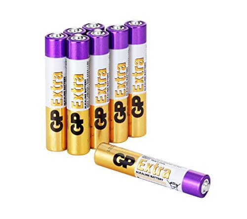 GP Extra Alkaline Batterien Typ AAAA (Mini / LR61) Spannung 1,5V, ideal für die Stromversorgung von Geräten des täglichen Bedarfs (Pack mit 8 Stück) -