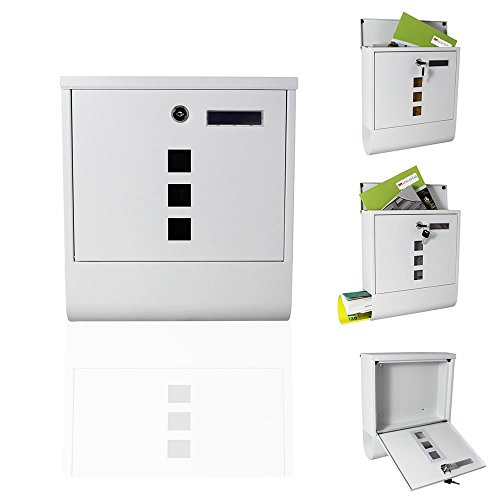 Melko Design Briefkasten mit Zeitungsfach aus verzinktem Stahl, 30 x 33,5 x 10 cm, Weiß