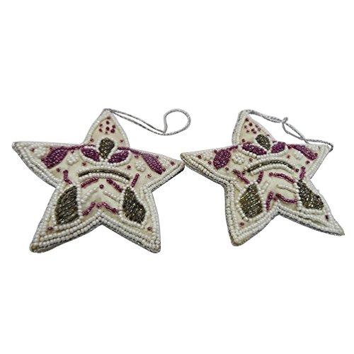 ornamenti decorativi in stile antico tessuto forma di albero in rilievo handmade fiore all'occhiello topper stella articolo da regalo di Natale Set di 2 pezzi