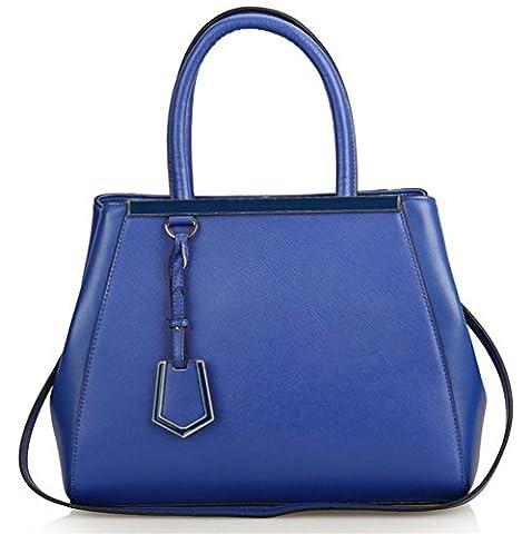 YANX Madam Mode Cross Muster Handtasche Damen Umhängetasche Tasche (38 * 28 * 16cm) , blue