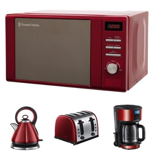 Russell Hobbs Digital Microwave, 20 L with Legacy Kettle, 3000 W and Legacy 4 Slice Toaster - Metallic Red