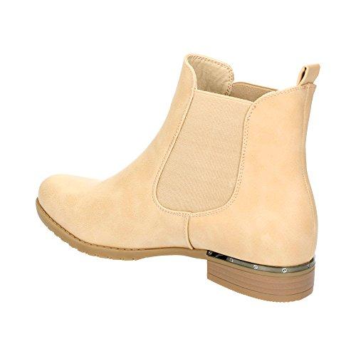 Damen Chelsea Schlupf Stretch-Einsatz Boots Blockabsatz Stiefeletten Stiefel Schuhe Beige