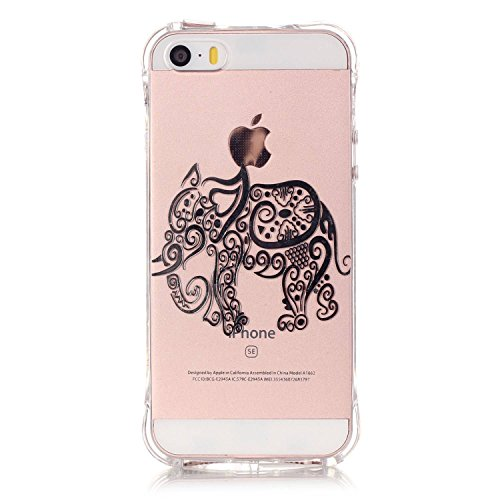 Samsung Galaxy Grand Prime G530H Coque,Samsung Galaxy Grand Prime G530H Gel Motif métallique TPU Case Feeltech Apple iPhone SE Case Silicone Clair Ultra Mince Premium Bumper iPhone 5S Housse Légère Ét Éléphant