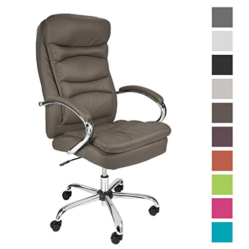 TPFLiving Premium XXL Bürostuhl Chefsessel Schreibtischstuhl QUEENS braun belastbar bis 210 kg hochwertig bequem Kunstleder Fixier- und Wippfunktion stabile Castor Rollen in 10 Farben wählbar