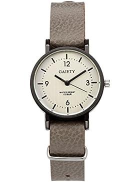 JSDDE Uhren,Unisex Armbanduhr Einfach Designer Analog PU Lederband Arabische Ziffern Analog Qaurzuhr,grau