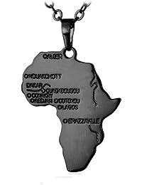 Africa collar cadena con colgante Africa–Oro Amarillo, Silver, chapado en oro rosa bañado en, negro, mapa africa, Rasta, Raggae, Afro