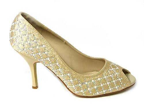 Sko's Sandales de soirée à talon haut à strass Tailles 36 37 38 39 40 41 Gold (98101-147)