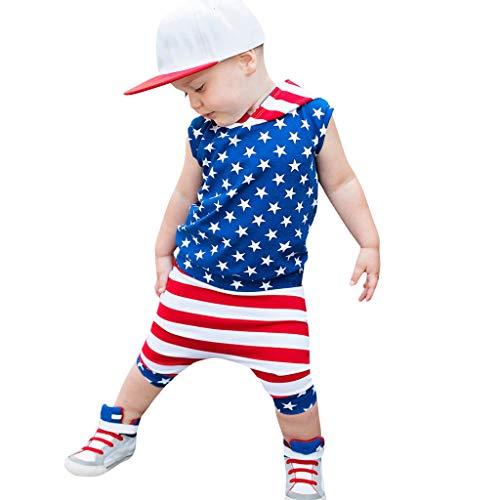 und Shorts für Kleinkinder Babys 4. Juli patriotischen Streifen T-Shirt ()