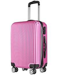 Mucassa - Equipaje de Mano Maleta Cabina de Viaje con Rueda Giratorio Material Rígida de Alta Calidad 5 Colores para Elegir Color Champagne Negro Azul Rosa Gris