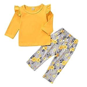 Borlai Baby Girls Cute Clothes Set Fashion Manga Larga con Volantes Camiseta Floral Pantalones 2Pcs 8