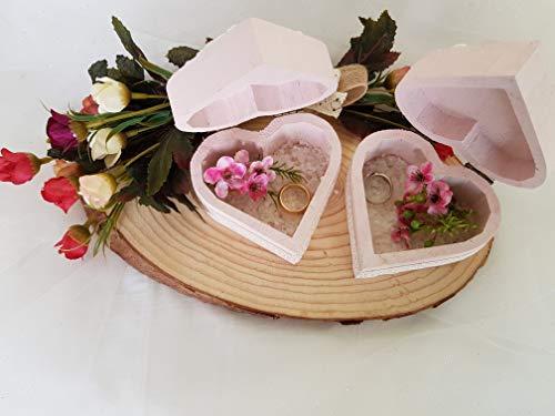 Portafedi shabby cofanetto fedi in legno, promessa di matrimonio, accessori sposa, interamente decorato a mano