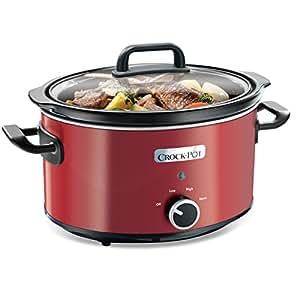 Crock-Pot SCV400RD-050 Schongarer - Das Original aus den USA | Slow Cooker 3,5 L | Warmhaltefunktion | mit Rezeptheft | Spülmaschinenfester Topf und Deckel | rot