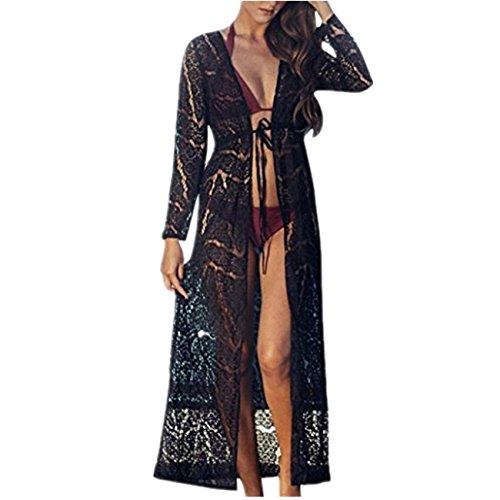 beautyjourney Copricostume Mare Donna Lungo Estate Pizzo - Abito Donna Lungo Elegante Vestiti Vestito Donna Estivo Lungo Costumi Bikini Costume Donna - Cover Up Pizzo Kimono (XL, Nero)