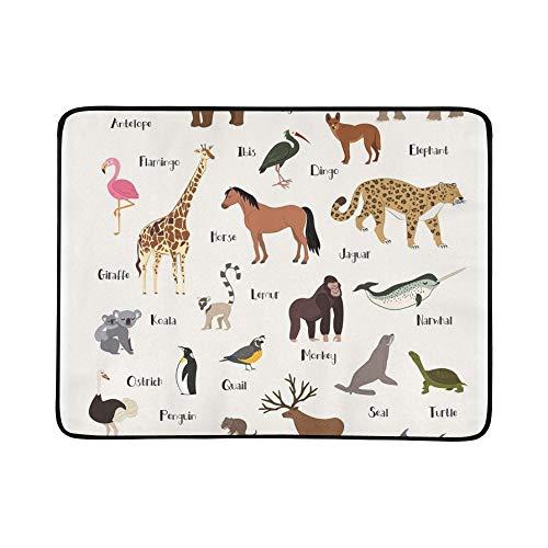 JEOLVP Alphabet Tier Chart Set Isoliert Tragbare Und Faltbare Decke Matte 60x78 Zoll Handliche Matte Für Camping Picknick Strand Indoor Outdoor Reise -